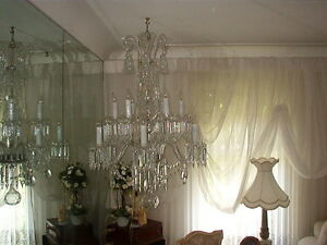 Two tiered 16 light crystal chandelier