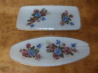 2 Vintage Rectangular & Oval Floral Cake Plates, Serving Trays - Glass