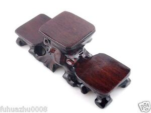 Wooden Crafted Triple Display Stand For Netsuke Snuff Bottle Figurine Home Decor