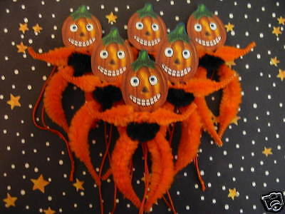 PRIMITIVE VINTAGE STYLE HALLOWEEN PUMPKINS ORNAMENTS CHENILLE FEATHER - Halloween Feather Tree