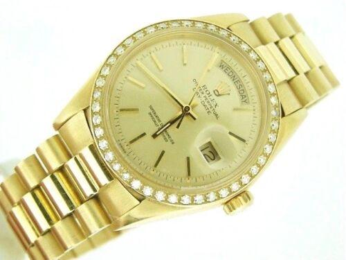 Mens Rolex Day-date President 18k Yellow Gold Watch 1.00ct Diamond Bezel 1803