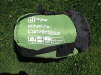 HI GEAR RIDGELINE CONVERTIBLE SLEEPING BAG (GREEN, BLACK & GREY)