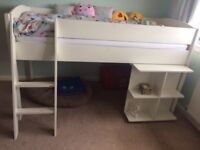 White Stompa Mid-Sleeper Bed with Pull-out Desk, M&S mattress included