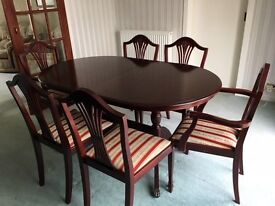 Dining table with 6 chairs - mahogany with upholstered seats
