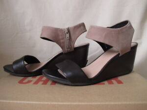 Camper tan and dark brown strappy wedges, size 39