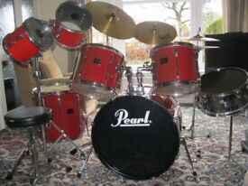 Pearl Export Drum Kit - lady owner - snare, bass drum & 5 other toms + crash, ride & hi-hat cymbals