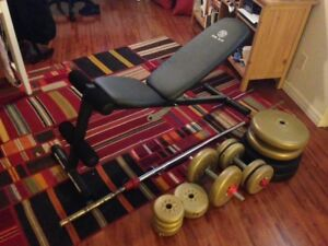 Gym Set (bench,160lbs free weights with 2 bars, deadlift bar)