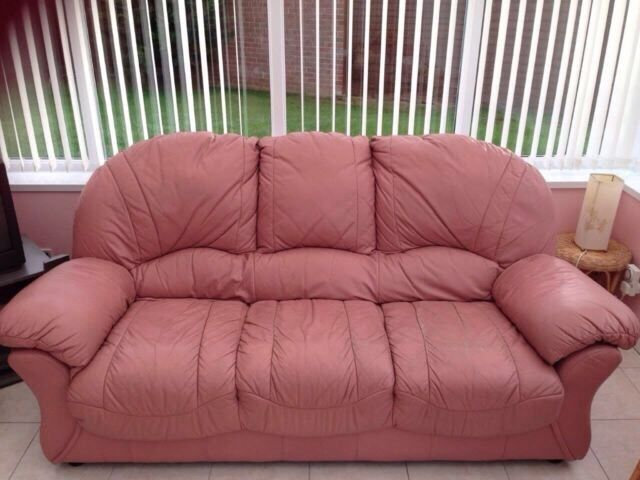 Pink leather sofa and two matching chairs shabby chic | in Stockton ...
