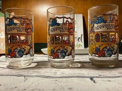 Vintage McDonalds 1981 The Great Muppet Caper Happiness Hotel Glass Lot of 3