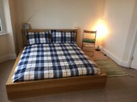 Bed frame MALM/KING SIZE (Oak veneer) and Sprung mattress HAMARVIK Medium firm/dark beige