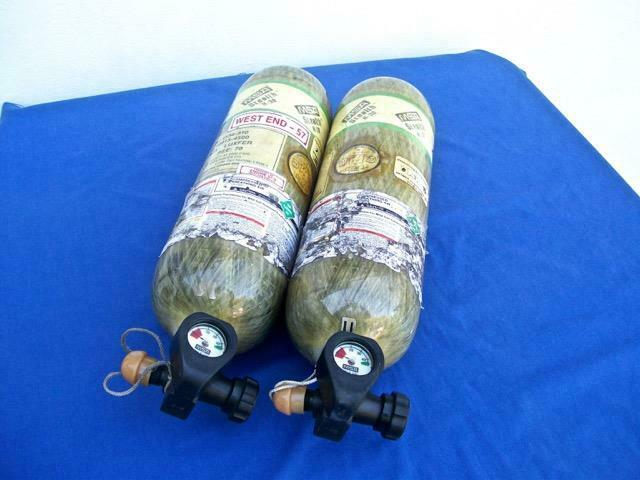 ( LOT OF 2 ) MSA STEALTH H-30 30 MIN. 4500 PSI CARBON SCBA AIR BOTTLES CYLINDERS