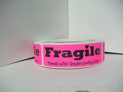 Fragile Handle With Tender Loving Care Stickers Labels Pink Fluores 250roll