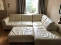Cream Leather Sofa for sale with storage Ottoman