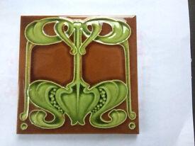 Art Nouveau fire surround tiles. 150mmx150mm x10 tiles