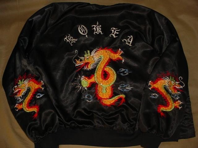 Vintage Korea Satin Bomber Souvenir Jacket EMBROIDERED Dragons  SZ Large