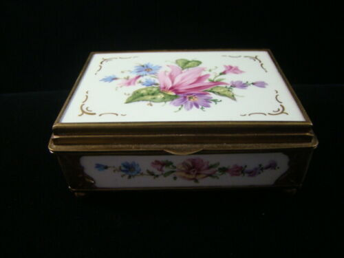 Antique European Very Fine Hallmarked Porcelain & Brass Snuff/Trinket Box Nice!!