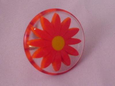 Vintage Lucite Chunky Encased Ring  Orange Yellow Translucent Flower Adjustable