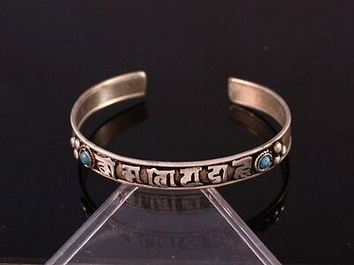 Tibetan Dotted 2 Turquoise Gemstone Inlay Carved OM Mani Padme Hum Cuff Bracelet