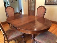 Oak Dining Table & 8 Upholstered Chairs