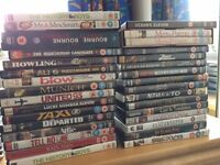 DVDs for sale, 33 in Total including hits like The History Boys, Oceans 11, Blow, Rain Man, Double J