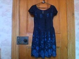 "Monsoon ""Twilight"" 100% raw silk embroidered dress size 10"