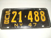 1947 New York License Plate