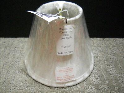 White Polka Dot & Metallic Silver Line Mini Chandelier Lamp Shade 3