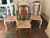 7 pine dining chairs - good quality just in need of TLC