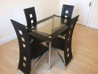 Dining Set (Tempered glass & 4 chairs)