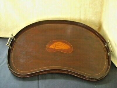 Edwardian kidney shaped Mahogany Inlaid butlers or drinks tray 59 cm x 36 cm