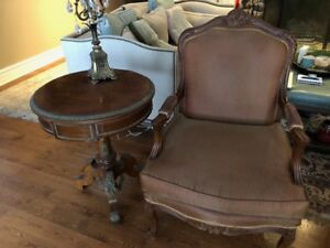Bergere Chairs and two antique side tables