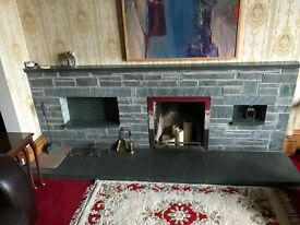 Green slate Fireplace & Hearth (now dismantled) includes matching poker