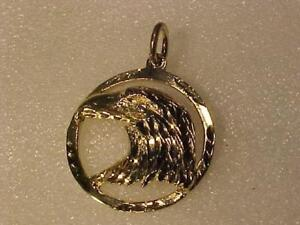 "#3416-NICE PROFESSIONALLY POLISHED 1"" DIAMETER 10k EAGLE PENDANT-FREE S/H ANYWHERE in Canada Cash or Interac bank transf"