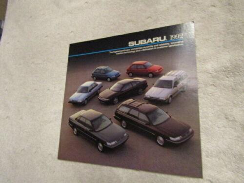 1992 Subaru Full Line Cars New Car Sales Brochure Catalog NOS