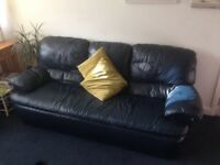 Large navy leather sofa and 2 matching chairs