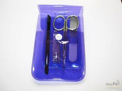 Top Qualität 4 Teile Reise Maniküre Set in klar violett Portemonnaie ()