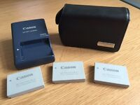 Genuine Canon leather case, charger and 3 batteries to fit IXUS 860is