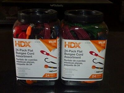 Assorted Bungee - Lot of 2 HDX 24 Packs Flat Bungee Cords Assortment NEW Retail 48 total cords