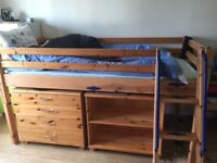 Thuka pine mid sleeper boys bed with storage space