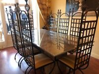 Wrought iron bespoke dining room chairs - set of 8