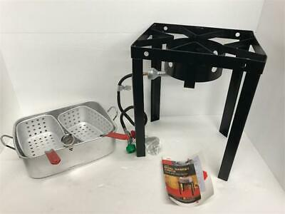 Chard Tbapf-18 Portable Outdoor Dual Deep Fryer Basket Propane Gas Cooker 18qt