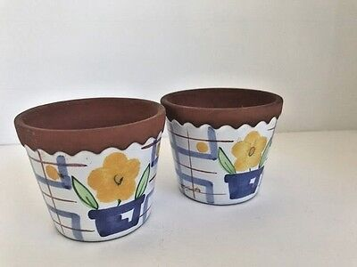 Pair of tiny flower pots glazed clay  blue & white, yellow flower, 2 1/2