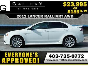 2011 Mitsubishi Lancer Ralliart AWC $189 bi-weekly APPLY NOW