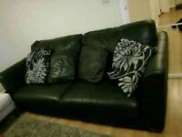 3 seater sofa real leather black
