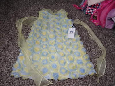 NWT NEW PICCOLA LUDO 4 YELLOW ND BLUE GORGEOUS FLORAL DRESS GIRLS