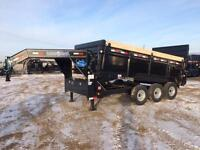 2015 GOOSENECK DUMPBOX 16FT TRIDEM HYDRAULIC RAMP 21,000 LB GVW