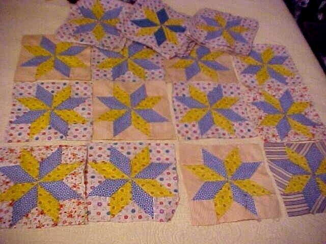 48 VTG LeMoyne Star Quilt Blocks