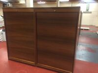 10 -WOODEN TAMBOUR CUPBOARDS 1800MM HI X 1000MM WIDE X 500MM DEEP -WITH FILE RAILS OR SHELVES