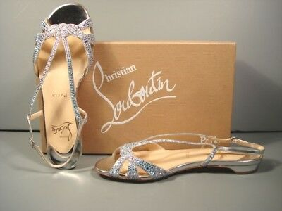 Louboutin 35.5 Lady Strass aqua rhinestones silver leather sandals flats shoes