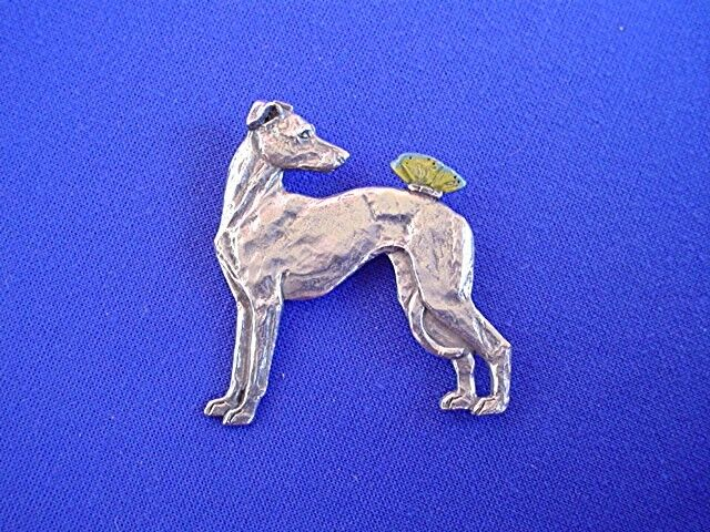 Greyhound IG whippet BUTTERFLY #12G Pewter Dog Jewelry by Cindy A. Conter